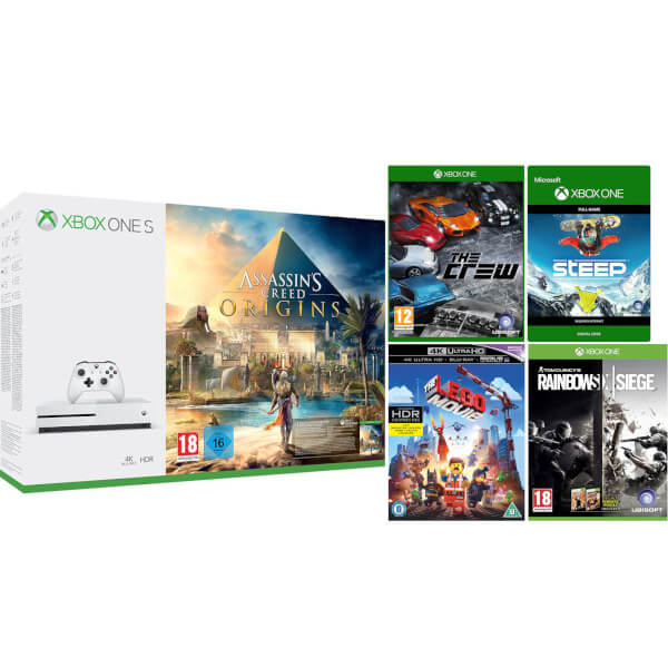 Xbox One S 1TB with Assassins Creed: Origins, Rainbow Six: Siege, Forza 7, Steep, The Crew, The Lego Movie 4K