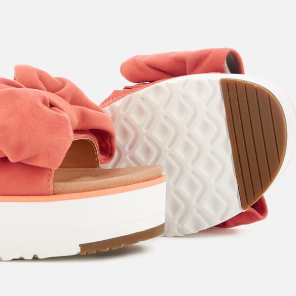 b8a0a75559b UGG Women s Joan Suede Bow Flatform Slide Sandals - Vibrant Coral  Image 4