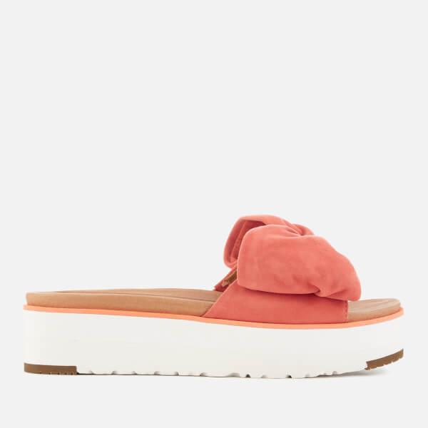 f6683441a67 UGG Women s Joan Suede Bow Flatform Slide Sandals - Vibrant Coral  Image 1