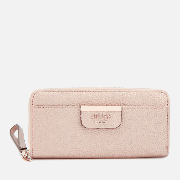 Guess Women's Bobbi Large Zip Around Purse - Pale Bronze/Fuchsia