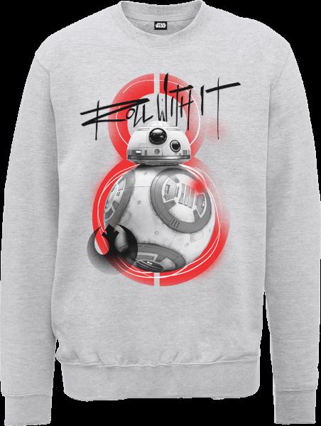 Star Wars The Last Jedi BB8 Roll With IT Grey Sweatshirt
