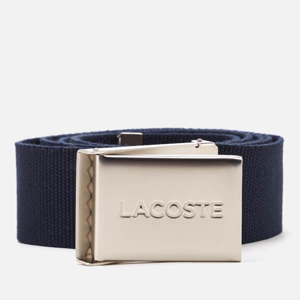 Lacoste Men's Textile Signature Croc Logo Belt - Navy Blue