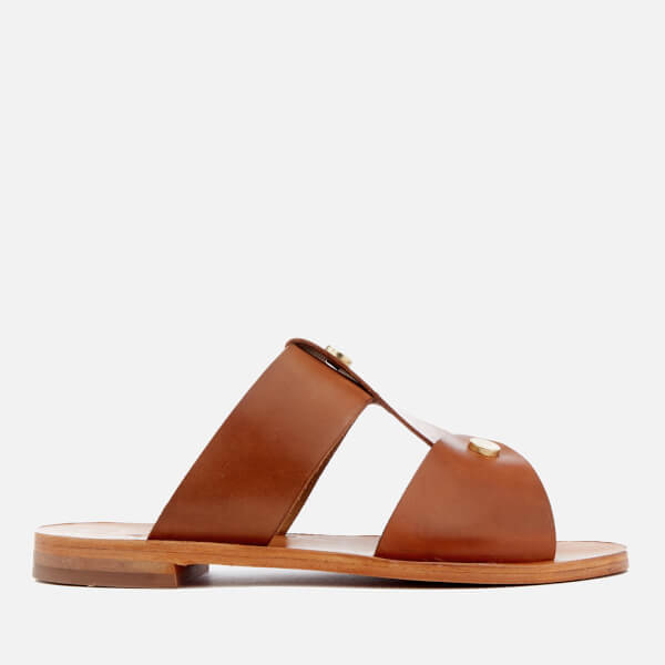 Hudson London Women's Aponi Leather Double Strap Sandals - Nude