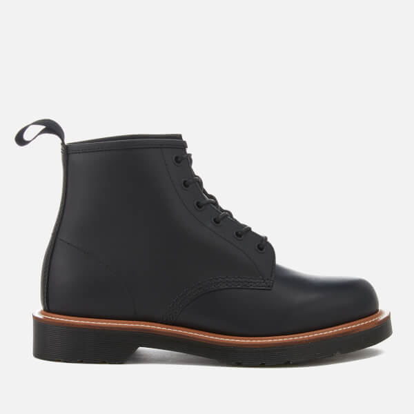 Dr. Martens Men's 101 Straw Grain/Polished Leather 6-Eye Lace Up Boots - Black