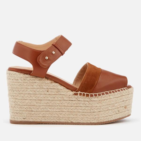 Castañer Women's Enea Leather Wedged Sandals - Cuero