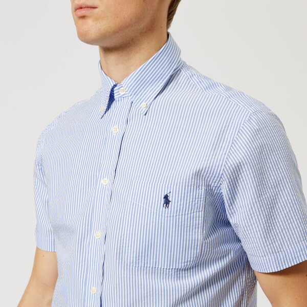 04fb88fd ... official polo ralph lauren mens short sleeve seersucker shirt blue  image 1 a907f c7de6