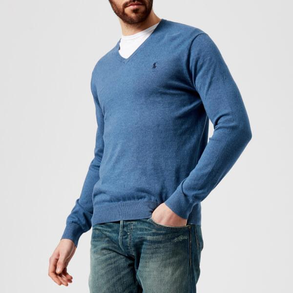 ca806e2cb300 Polo Ralph Lauren Men s Pima V-Neck Knitted Jumper - Haven Blue Heather   Image