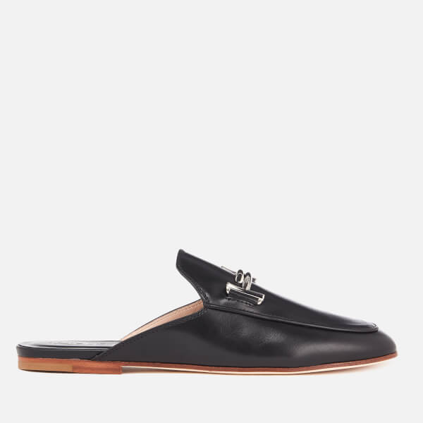 Tod's Women's Leather Double T Slip On Loafers - Black: Image 1
