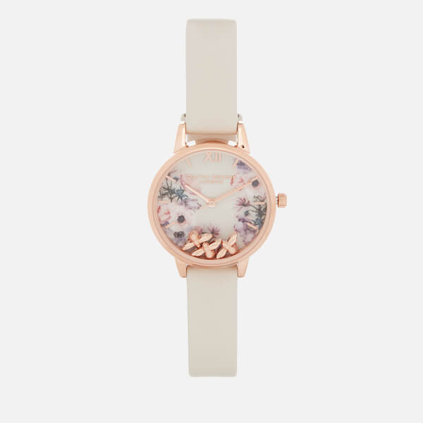Olivia Burton Women's Busy Bees Floral Watch - Nude & Rose Gold