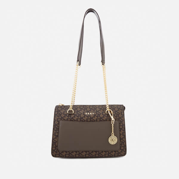 DKNY Women's Bryant Small Zip Tote Bag - Brown Logo