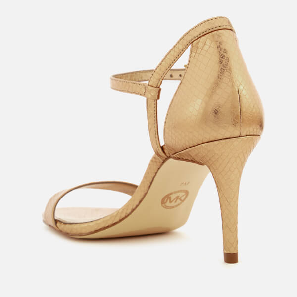 fff93003822 MICHAEL MICHAEL KORS Women s Simone Shiny Metallic Snake Barely There  Heeled Sandals - Antique Gold
