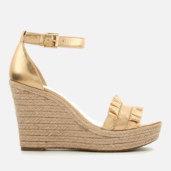 c6d9d7a9d7e MICHAEL MICHAEL KORS Women s Bella Metallic Leather Wedged Sandals - Pale  Gold  Image 1