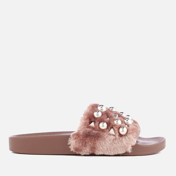 f2088998cd1 Steve Madden Women s Yeah Faux Fur Slide Sandals - Mauve  Image 1