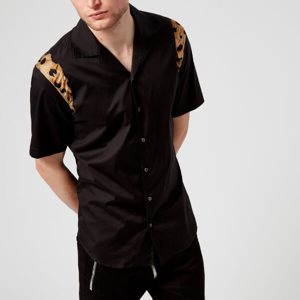 Dsquared2 Men S Relax Dan Leopard Print Short Sleeve Shirt Black Image 1