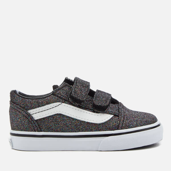Vans Toddlers' Glitter Velcro Old Skool Trainers - Rainbow Black
