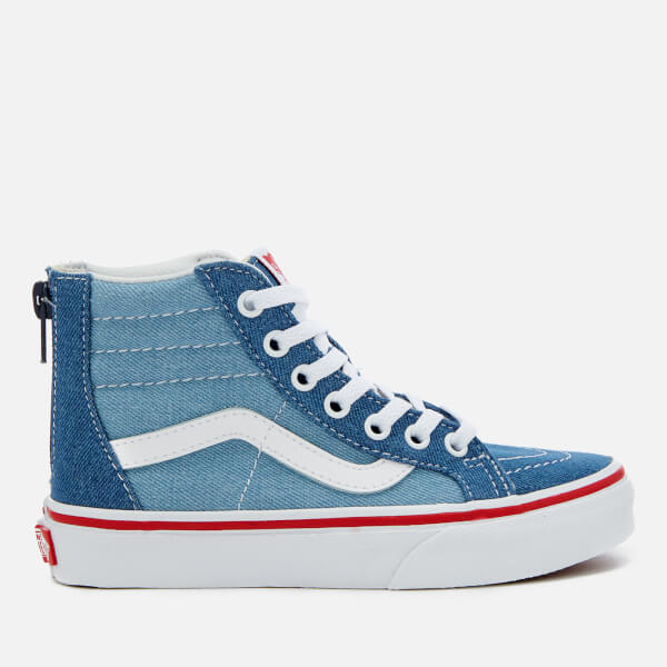 Vans Kids  2 Tone Denim Sk8-Hi Zip Trainers - Blue True White Junior ... cf157cf70f15