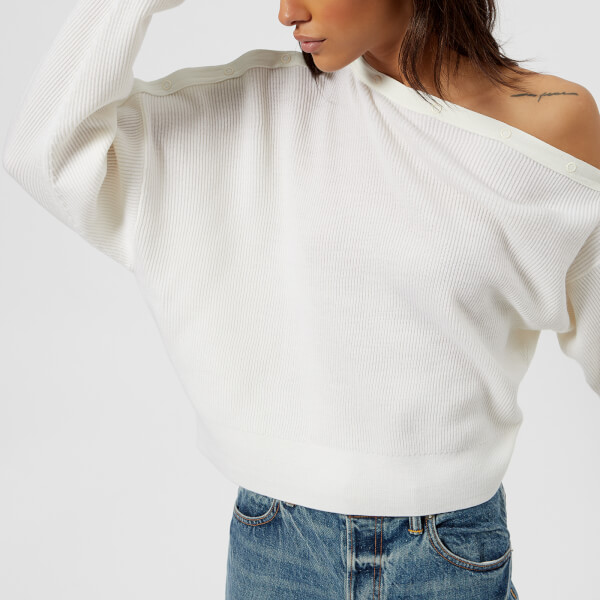 T By Alexander Wang Womens Snap Detail Off The Shoulder Crop