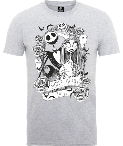 The Nightmare Before Christmas Jack Skellington And Sally Grey T-Shirt