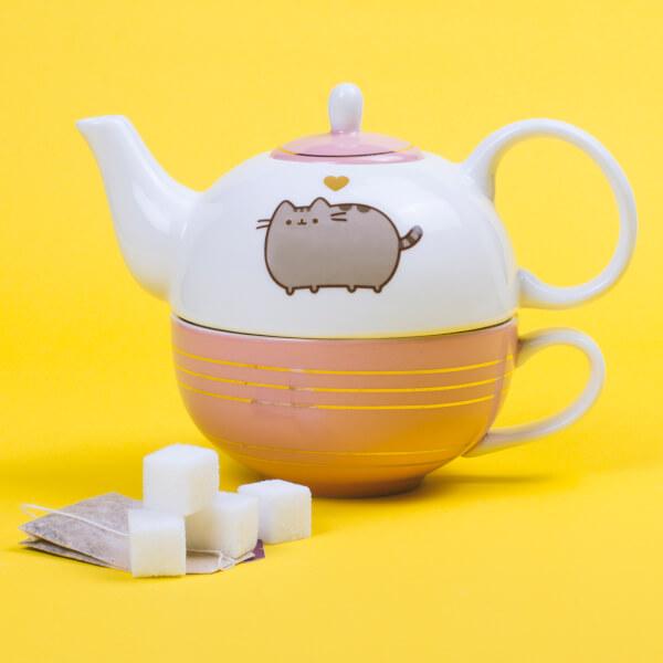 Pusheen Tea For One Teapot and Mug Set - Gold