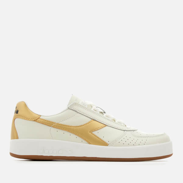 Diadora Men's B.Elite L Grained Leather Trainers - White/Gold