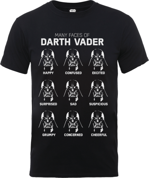 Star Wars Many Faces Of Darth Vader T-Shirt - Black