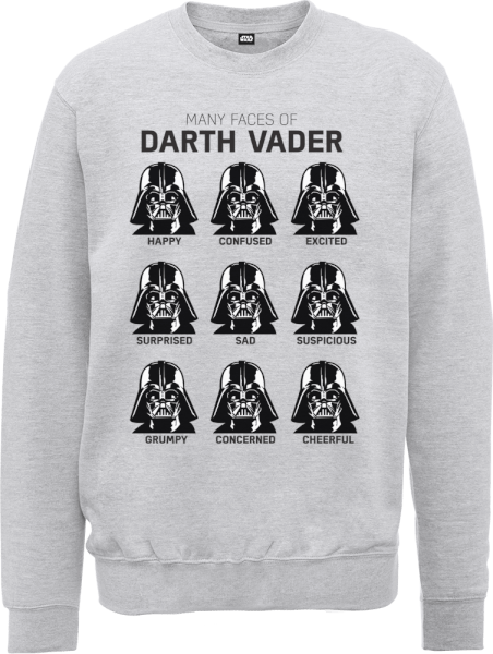 Star Wars Many Faces Of Darth Vader Sweatshirt - Grey