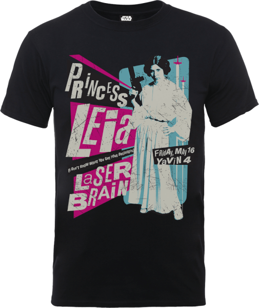 Star Wars Princess Leia Rock Poster T-Shirt - Black