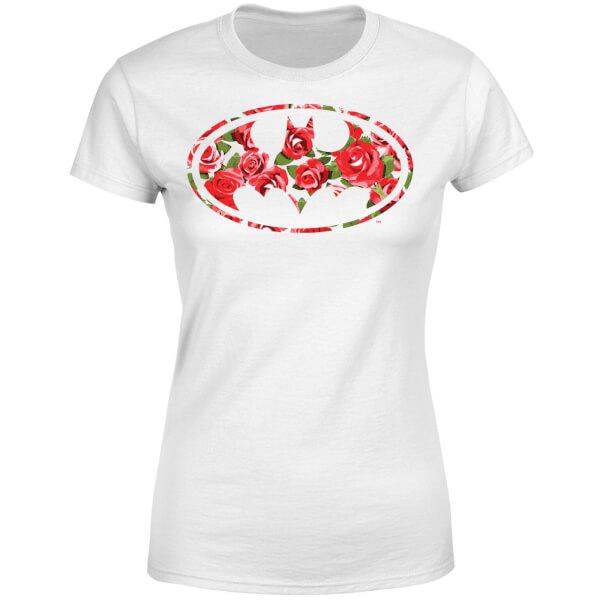 DC Comics Floral Batman Logo Women's T-Shirt - White