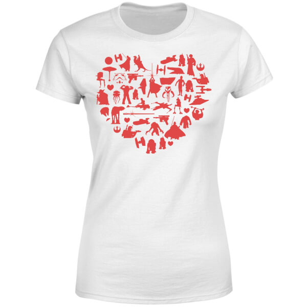 Star Wars Valentine's Heart Montage Women's T-Shirt - White