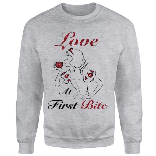 Disney Princess Snow White Love At First Bite Sweatshirt - Grey