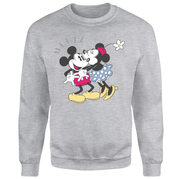 Disney Mickey Mouse Minnie Kiss Sweatshirt - Grey
