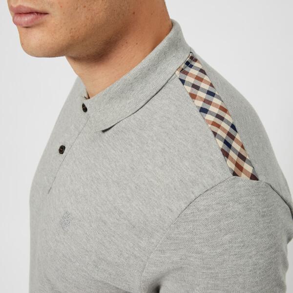 0cc414553 Aquascutum Men's Hill CC Pique Short Sleeve Polo Shirt - Grey Melange:  Image 4