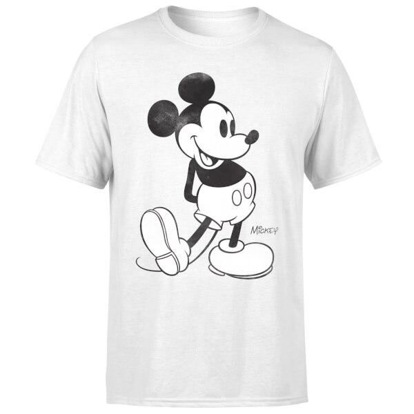 Disney Mickey Mouse Classic Kick B&W T-Shirt - White