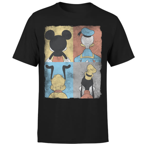 Disney Mickey Mouse Donald Duck Mickey Mouse Pluto Goofy Tiles T-Shirt - Black