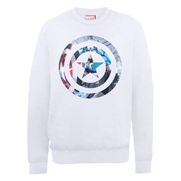 Marvel Avengers Assemble Captain America Montage Sweatshirt - White