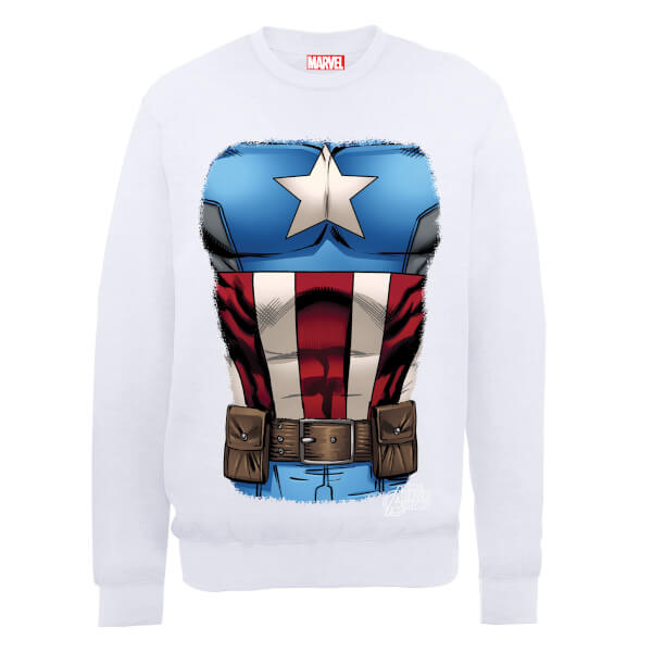 Marvel Avengers Assemble Captain America Chest Sweatshirt - White
