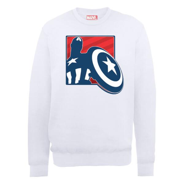 Marvel Avengers Assemble Captain America Badge Outline Sweatshirt - White