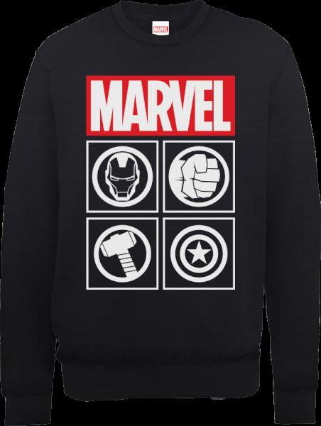 Marvel Avengers Assemble Icons Pullover Sweatshirt - Black
