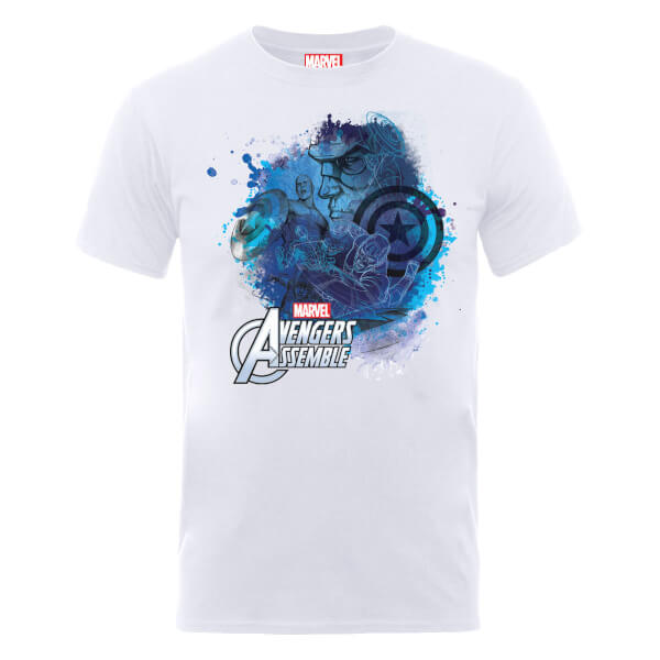 Marvel Avengers Assemble Captain America Montage T-Shirt - White