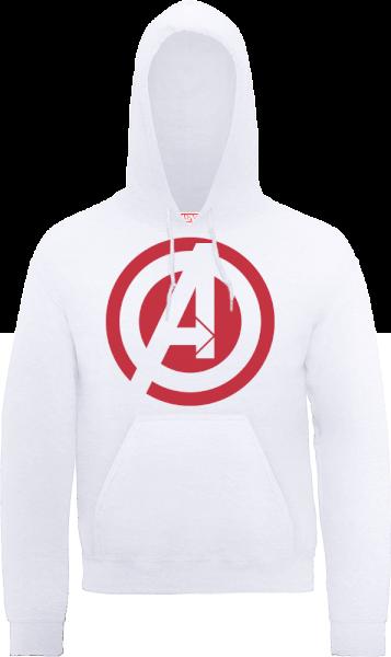 Marvel Avengers Assemble Captain America Logo Pullover Hoodie - White