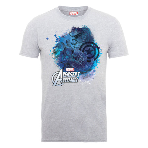 Marvel Avengers Assemble Captain America Montage T-Shirt - Grey