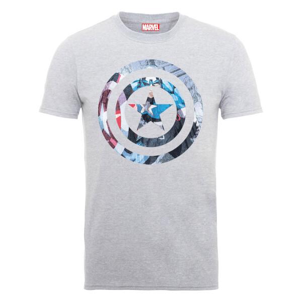 Marvel Avengers Assemble Captain America Shield Montage T-Shirt - Grey