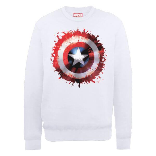 Marvel Avengers Assemble Captain America Art Shield Sweatshirt - White