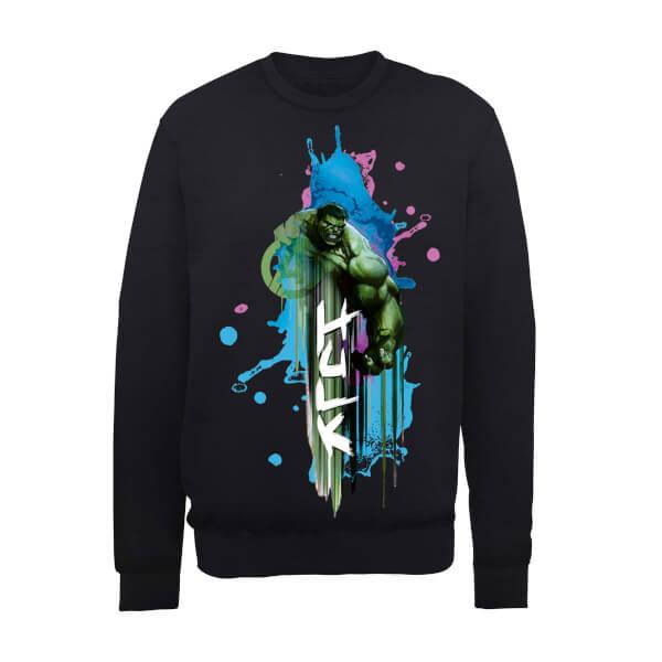 Marvel Avengers Assemble Hulk Art Burst Sweatshirt - Black