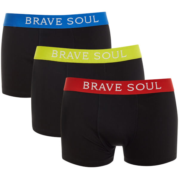 Brave Soul Men's Jay 3 Pack Boxers - Black/Yellow/Red/Blue