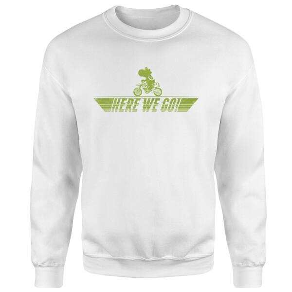 Mario Kart Yoshi Here We Go Sweatshirt - White
