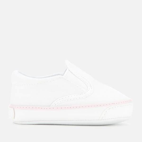 Polo Ralph Lauren Babies' Bal Harbour II Canvas Slip-On Trainers - White/Light Pink