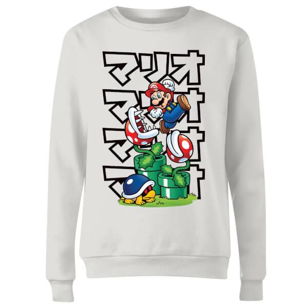 Nintendo Super Mario Piranha Plant Japanese Women's Sweatshirt - White