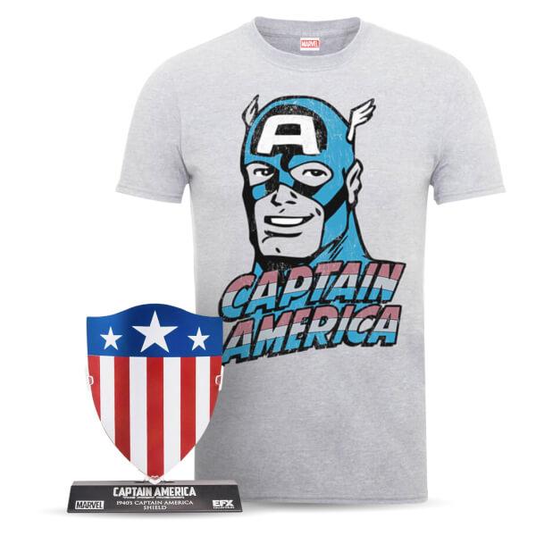 Marvel Captain America Men's T-Shirt and Shield Bundle