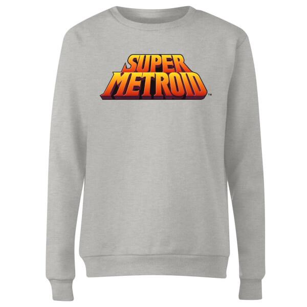Nintendo Super Metroid Retro Logo Colour Women's Sweatshirt - Grey
